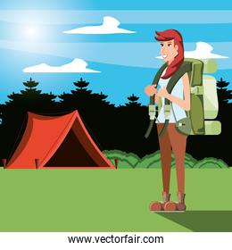 woman tourist in camping zone