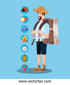 man tourist with bag camping and set icons