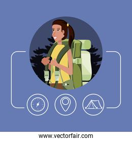 woman tourist with bag camping and set icons