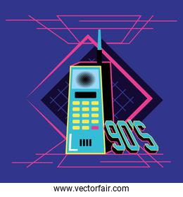 nineties cell retro icon over blue