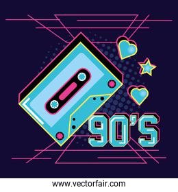 cassette tape of nineties and decoration
