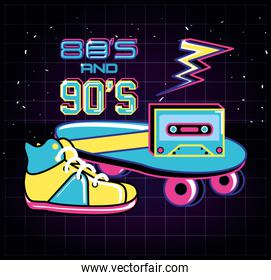 skateboard with icons of eighties and nineties retro style