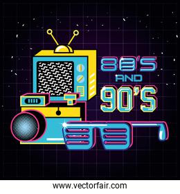 televisor with icons of eighties and nineties retro