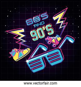 party glasses with items of eighties and nineties retro