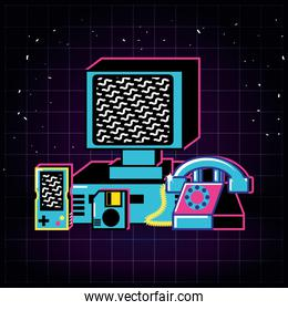 computer and set icons old retro