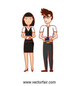 business couple with smartphones devices