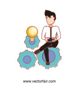 businessman sitting in bulb light and gears machinery