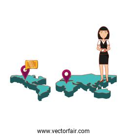 businesswoman in map with smartphone and set icons