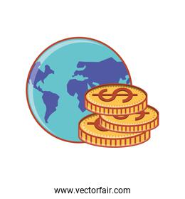 world planet with pile of coins dollar