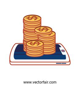 smartphone with coins money