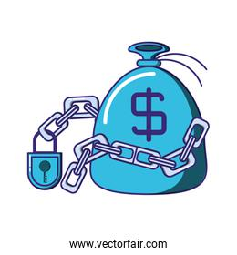 bag money with chain and padlock