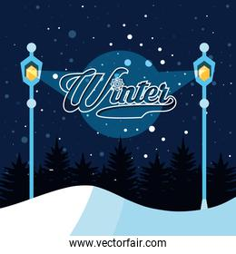 winter landscape with lamps scene christmas