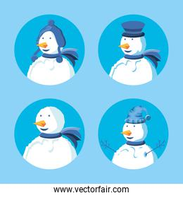 group of snowmen with hat winter