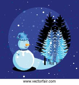 snowman with tree pine of christmas