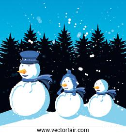 group snowmen with winter landscape of christmas