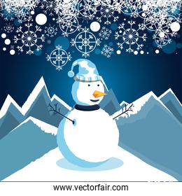 snowman with winter landscape of christmas