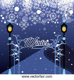 winter landscape with christmas lamps  scene