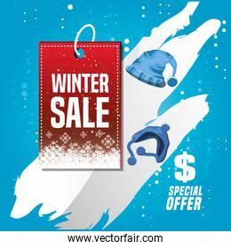 winter landscape with christmas sale and hats