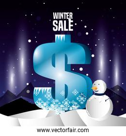 winter landscape with christmas sale and snowman