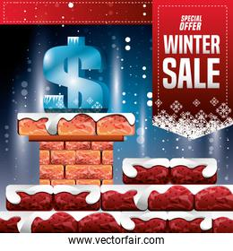 winter landscape with chimney and christmas sale