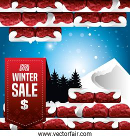 winter sale cartel with wall broken and christmas sale