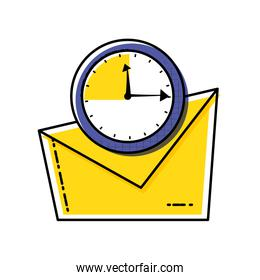 envelope mail with clock time