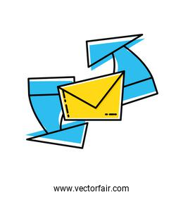 envelope mail with arrows