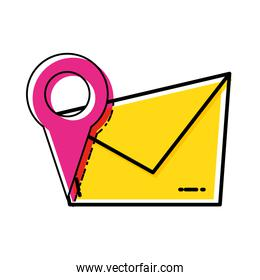 envelope mail with pin location