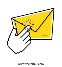 envelope mail with hand touching