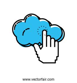 cloud computing with hand touching