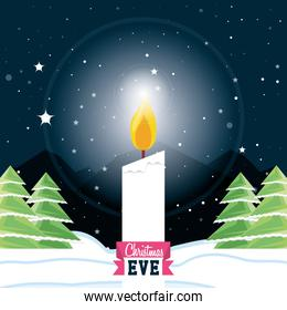 decorative christmas candle in snowscape