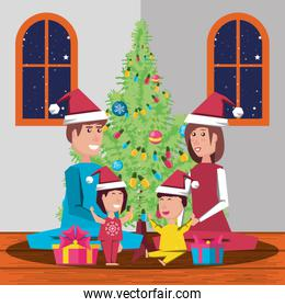happy family celebrating christmas in house