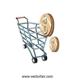 shopping cart with coins money