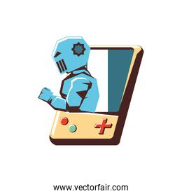retro video game with robot avatar