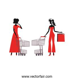 women silhouette with shopping bag and cart over white