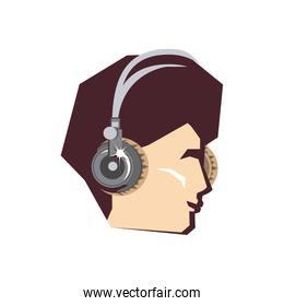 head of young man with headphone