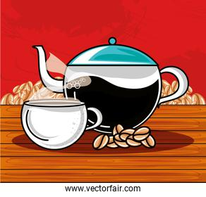 delicious cup of coffee with teapot in wooden table