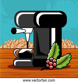 machine coffee with teapot and grains