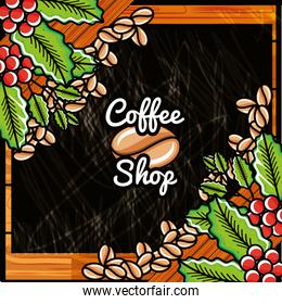 label of shop coffee with plants decorative