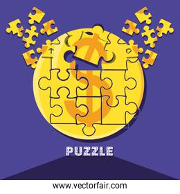 puzzle pieces in shape circle