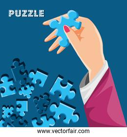 hand with puzzle pieces