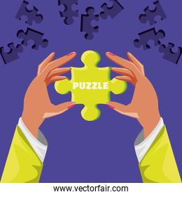 hands with puzzle pieces