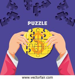 hands with puzzle pieces in shape circle