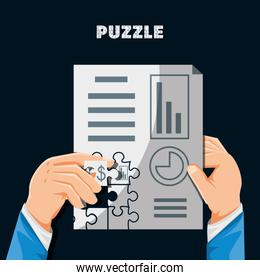 hands with puzzle pieces in shape statistical report