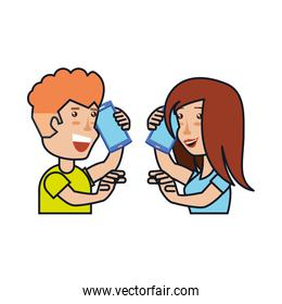 young couple talking for smartphone