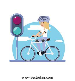 woman ride bike with trafic light character