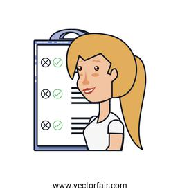 woman with clipboard checklist isolated icon
