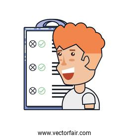 man with clipboard checklist isolated icon