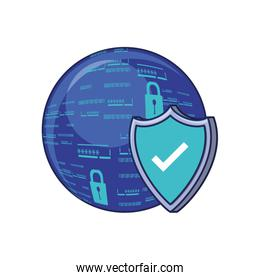 sphere browser with shield and padlock