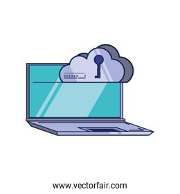 laptop computer with cloud computing and key